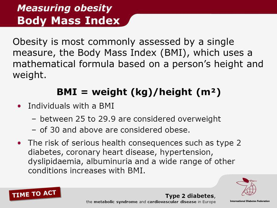 Measuring obesity Body Mass Index