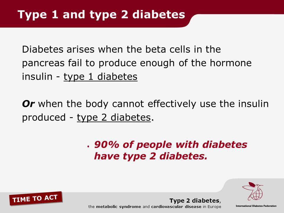 Type 1 and type 2 diabetes Diabetes arises when the beta cells in the