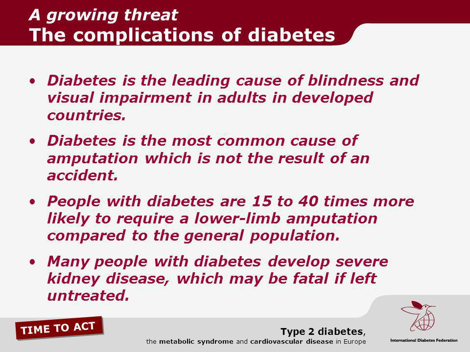 A growing threat The complications of diabetes