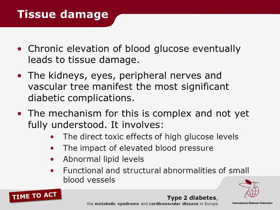 Tissue damage Chronic elevation of blood glucose eventually leads to tissue damage.