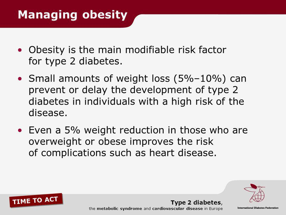 Managing obesity Obesity is the main modifiable risk factor for type 2 diabetes.