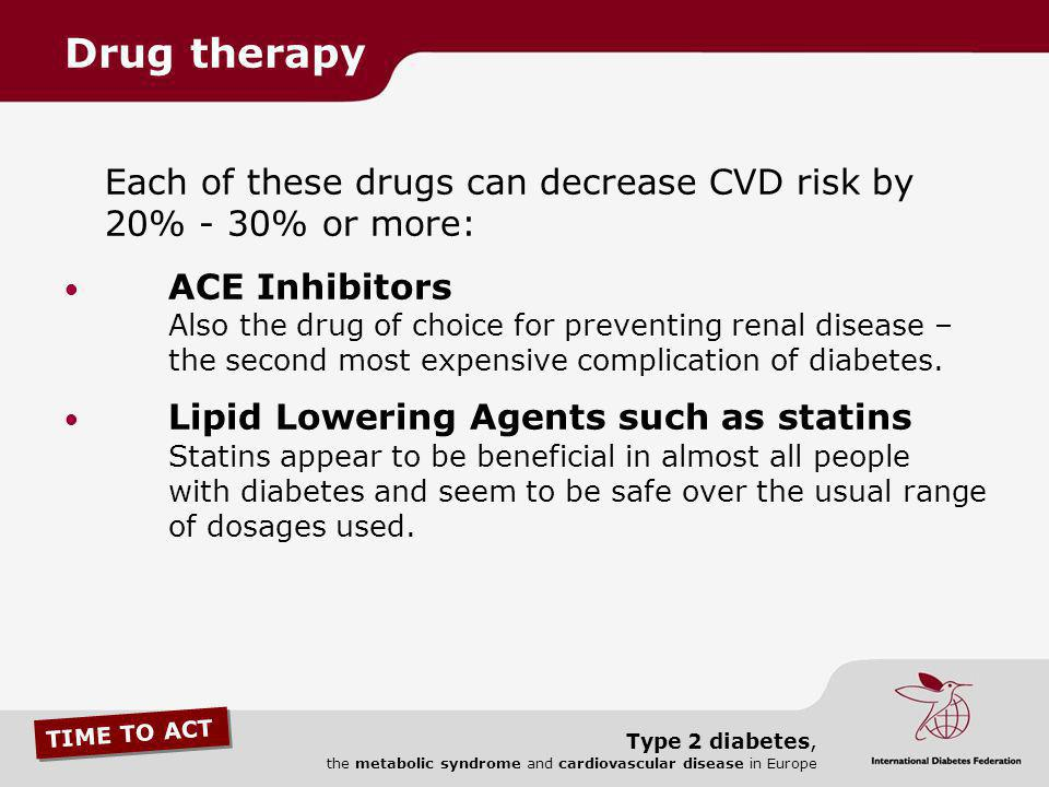 Drug therapy Each of these drugs can decrease CVD risk by 20% - 30% or more: