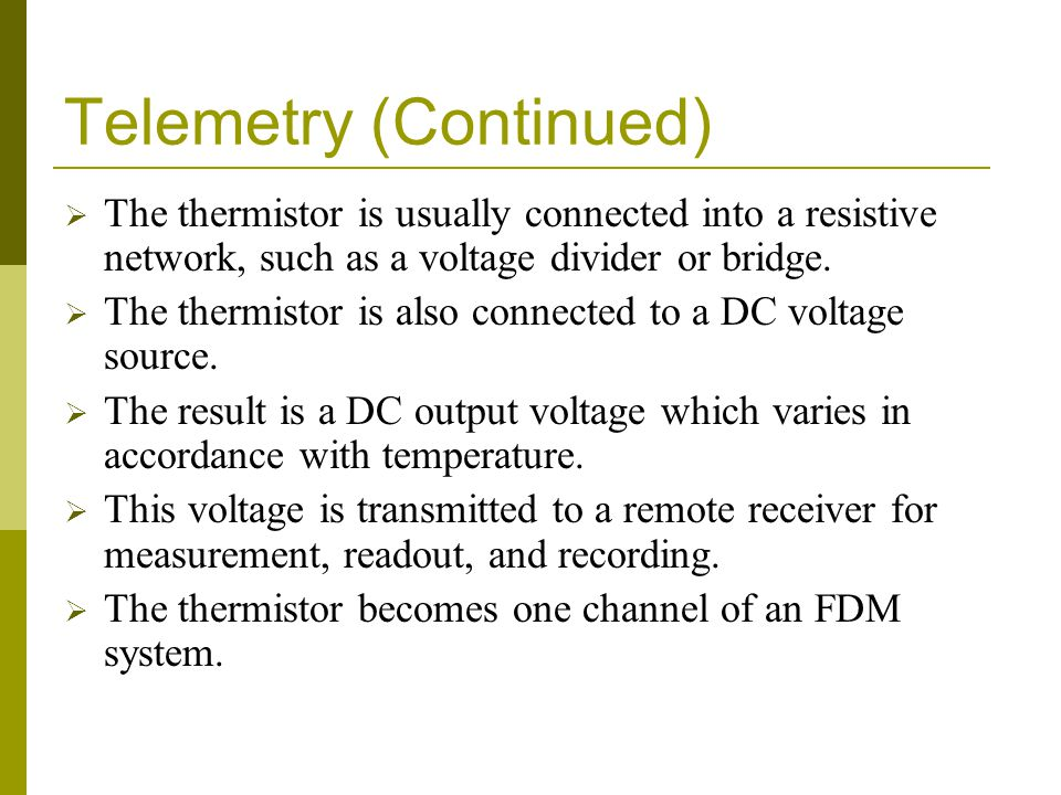 Telemetry (Continued)