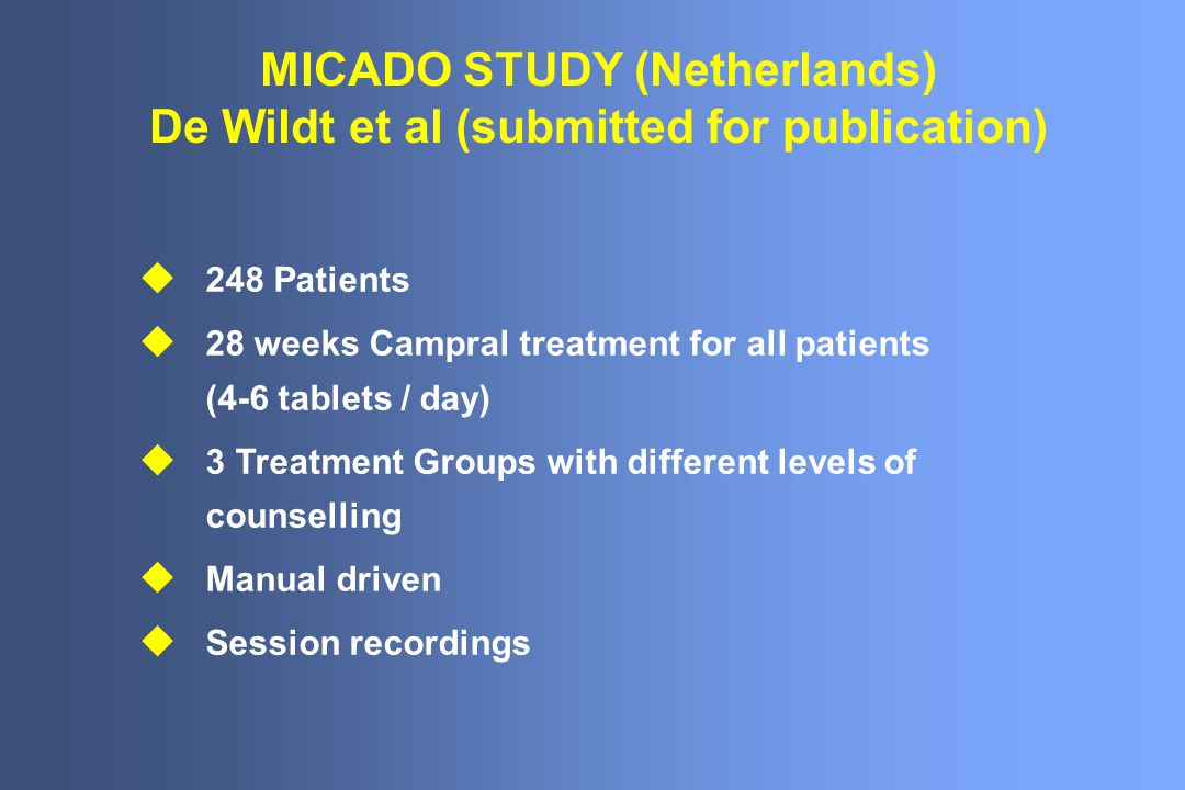 MICADO STUDY (Netherlands) De Wildt et al (submitted for publication)