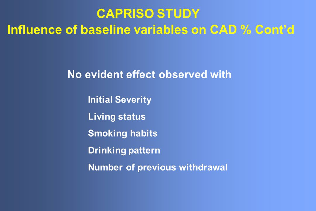 CAPRISO STUDY Influence of baseline variables on CAD % Cont'd