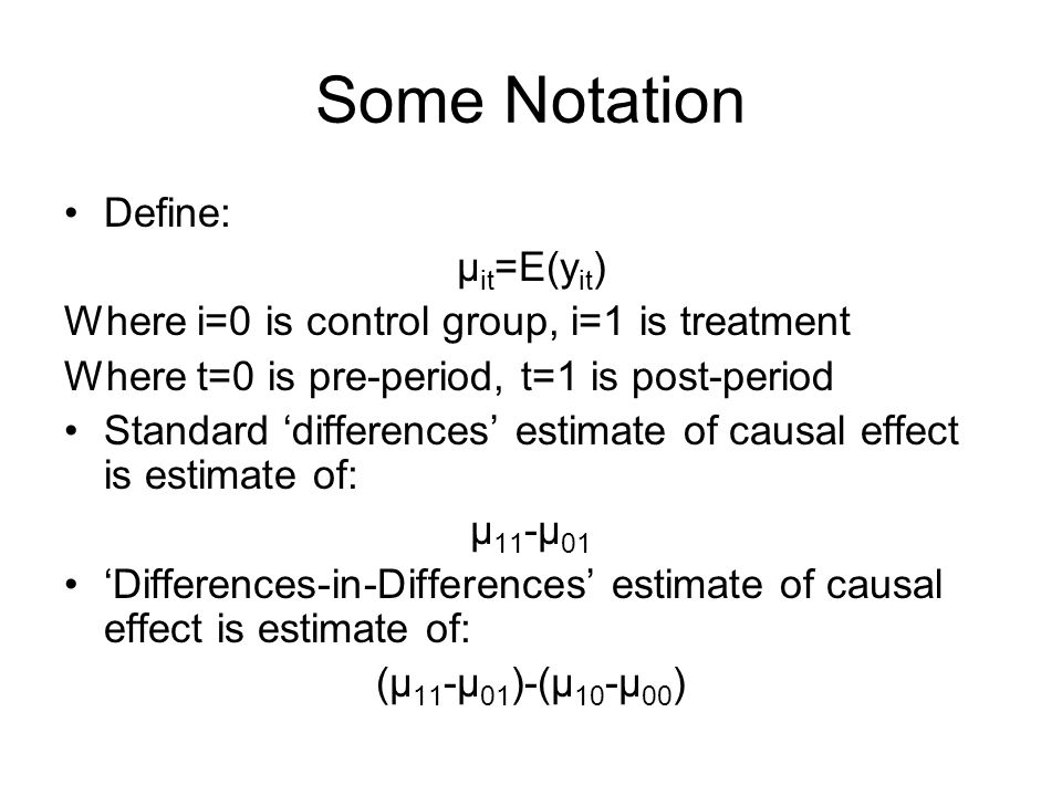 Some Notation Define: μit=E(yit)