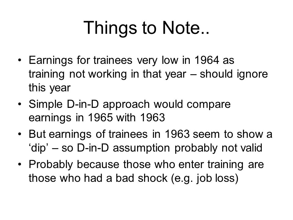 Things to Note.. Earnings for trainees very low in 1964 as training not working in that year – should ignore this year.