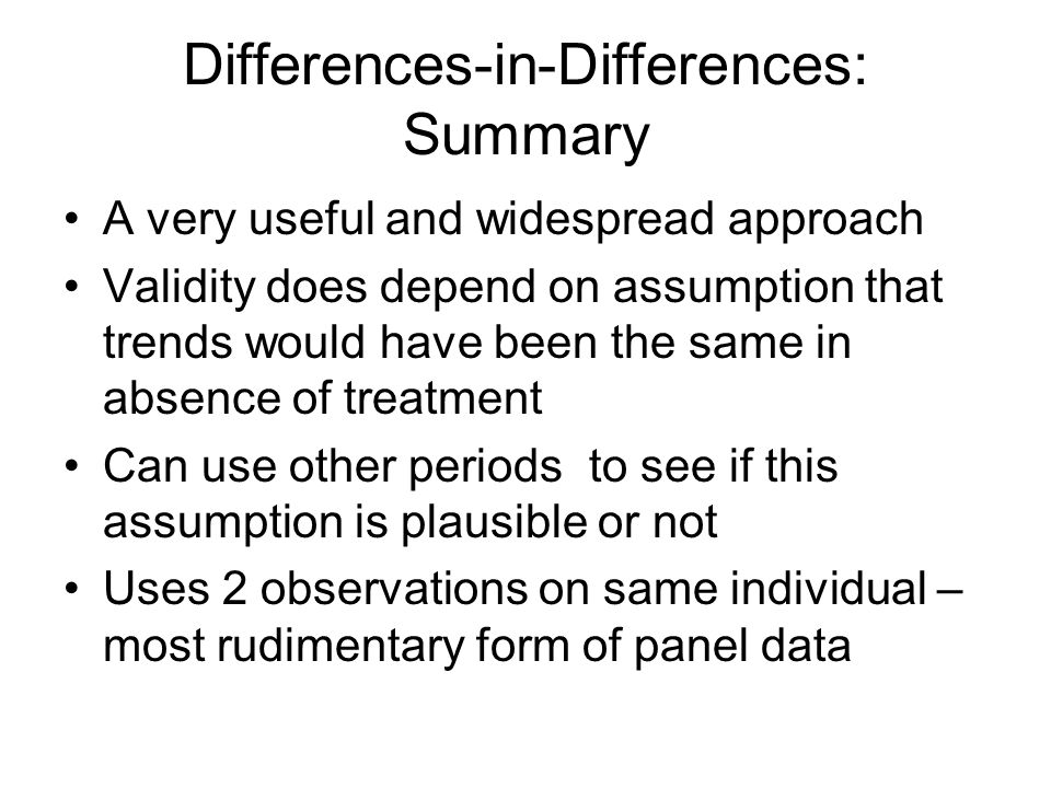 Differences-in-Differences: Summary