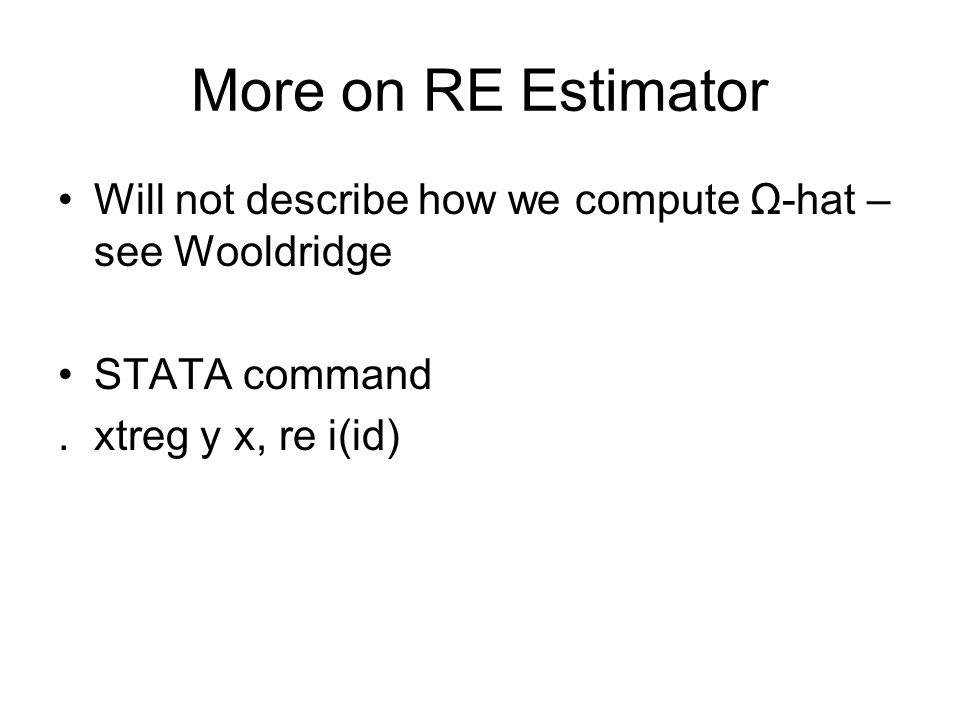 More on RE Estimator Will not describe how we compute Ω-hat – see Wooldridge.