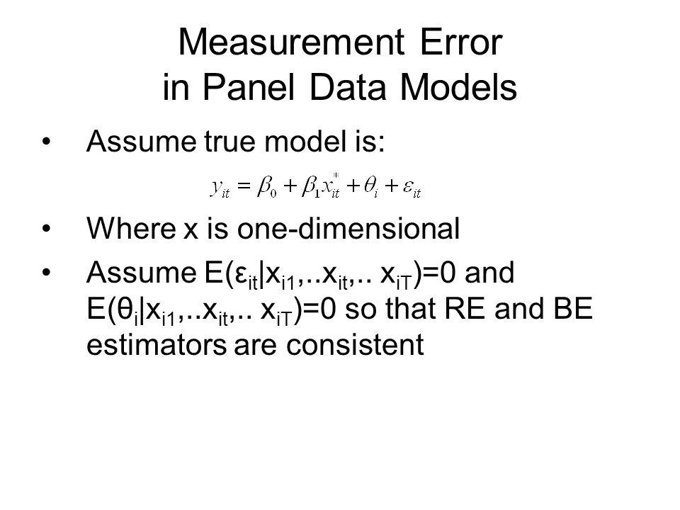 Measurement Error in Panel Data Models
