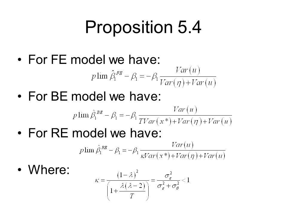 Proposition 5.4 For FE model we have: For BE model we have: