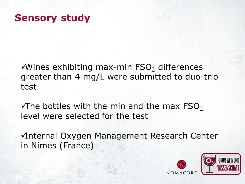 Sensory study Wines exhibiting max-min FSO2 differences greater than 4 mg/L were submitted to duo-trio test.