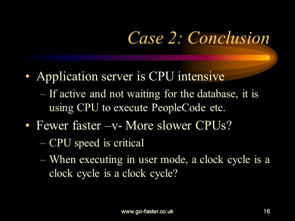 Case 2: Conclusion Application server is CPU intensive