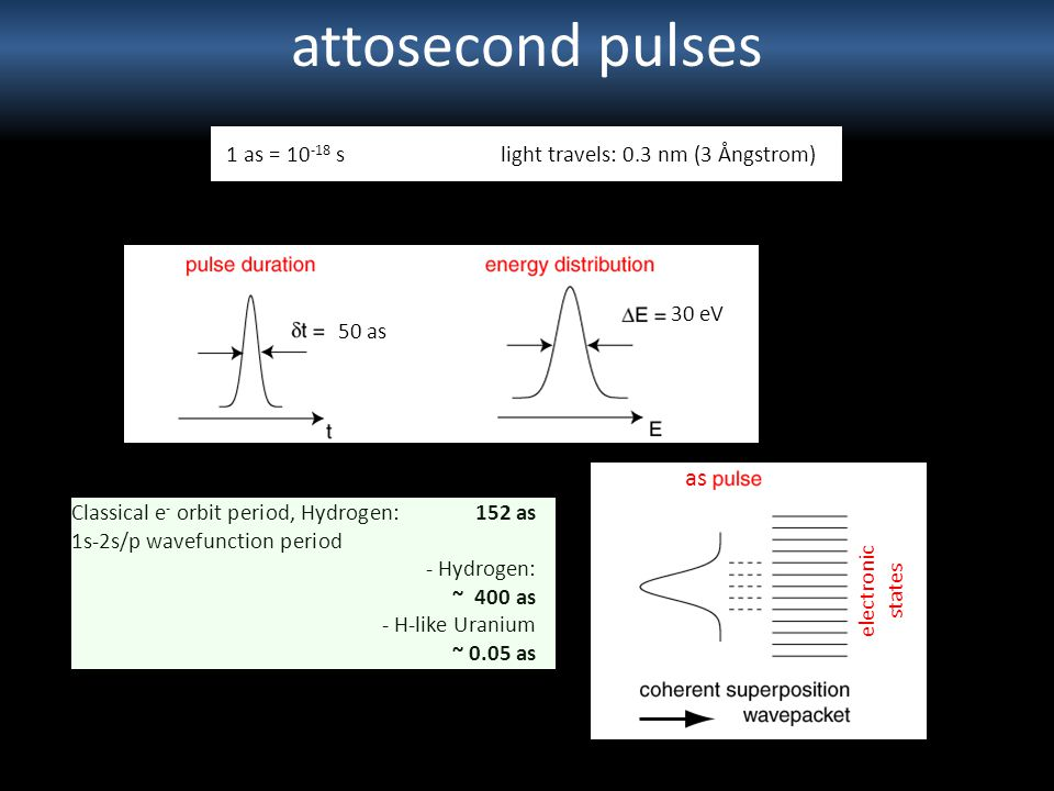 attosecond pulses as 1 as = 10-18 s light travels: 0.3 nm (3 Ångstrom)
