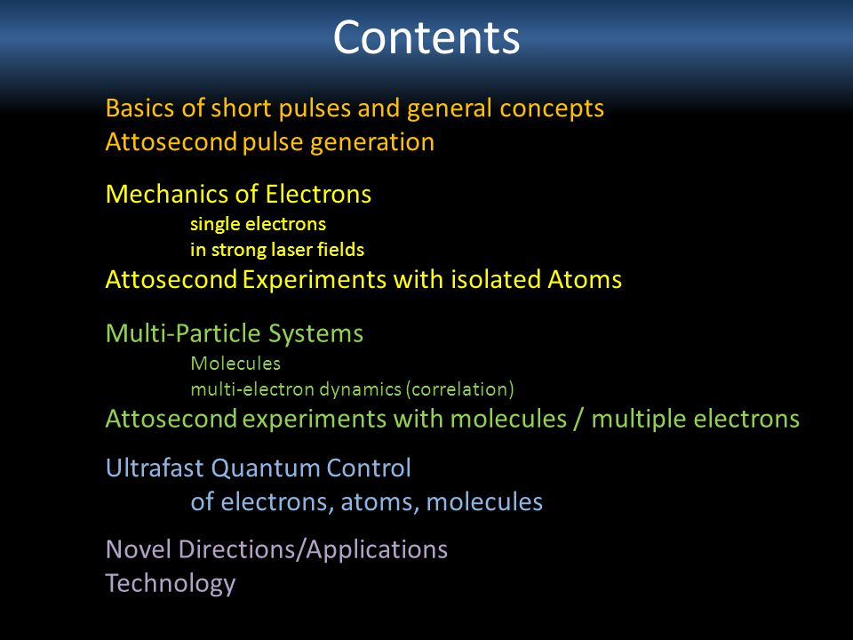 Contents Basics of short pulses and general concepts