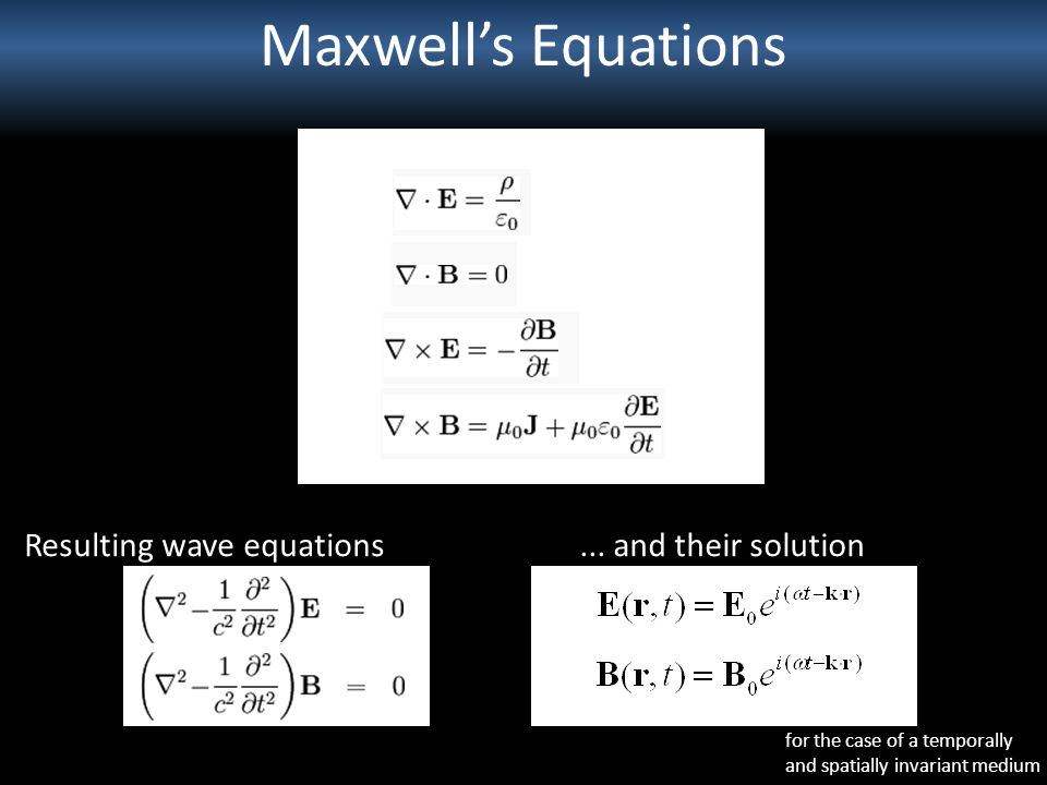 Maxwell's Equations Resulting wave equations ... and their solution