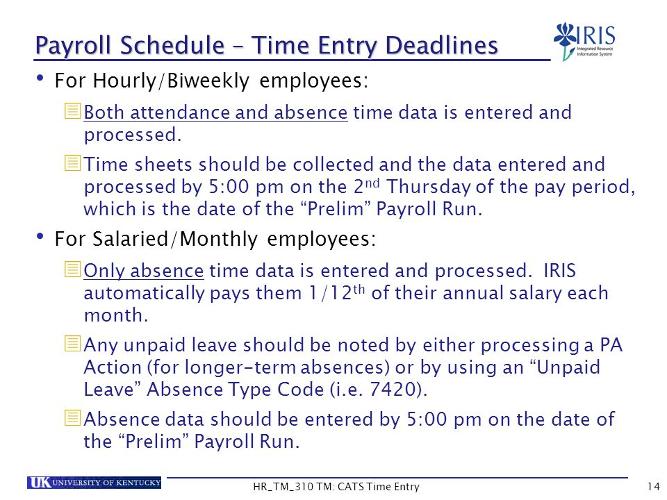 Payroll Schedule – Time Entry Deadlines