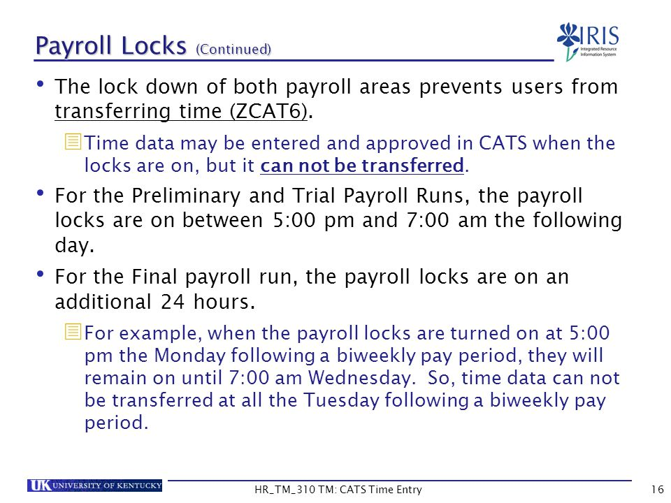 Payroll Locks (Continued)