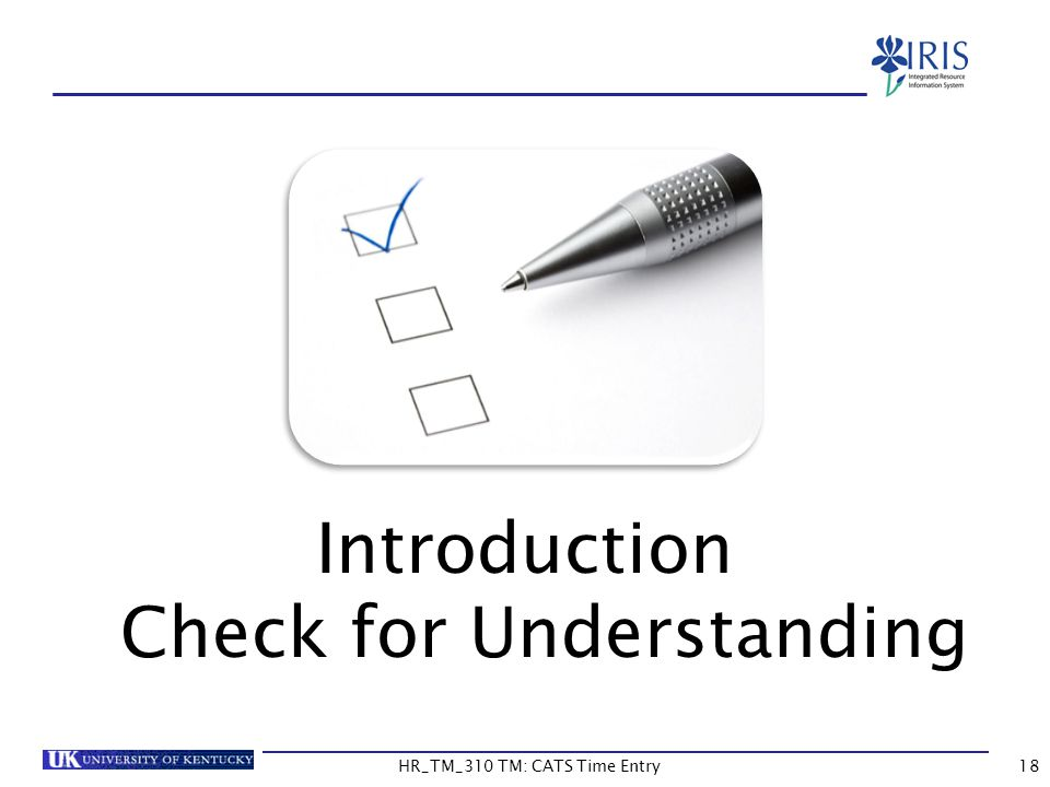 Introduction Check for Understanding