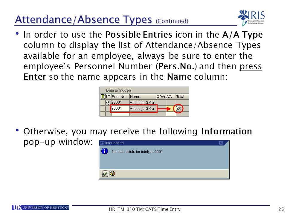 Attendance/Absence Types (Continued)