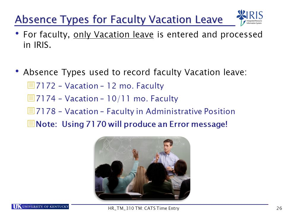 Absence Types for Faculty Vacation Leave