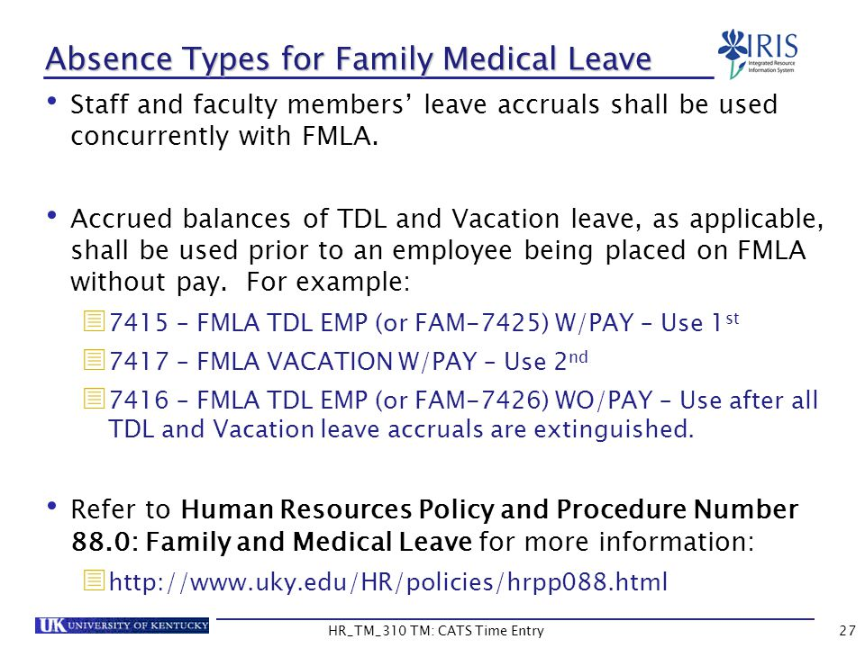 Absence Types for Family Medical Leave