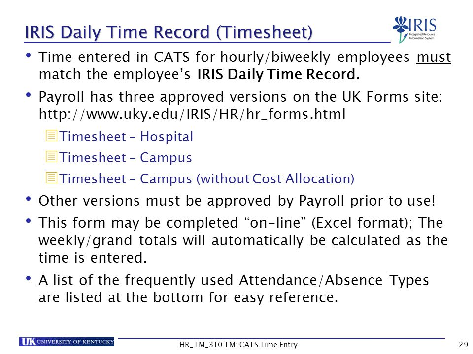 IRIS Daily Time Record (Timesheet)