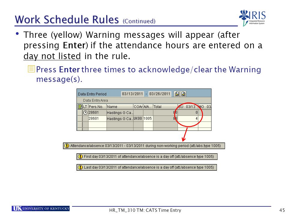 Work Schedule Rules (Continued)