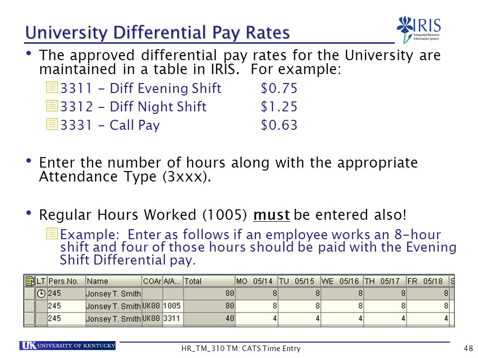 University Differential Pay Rates