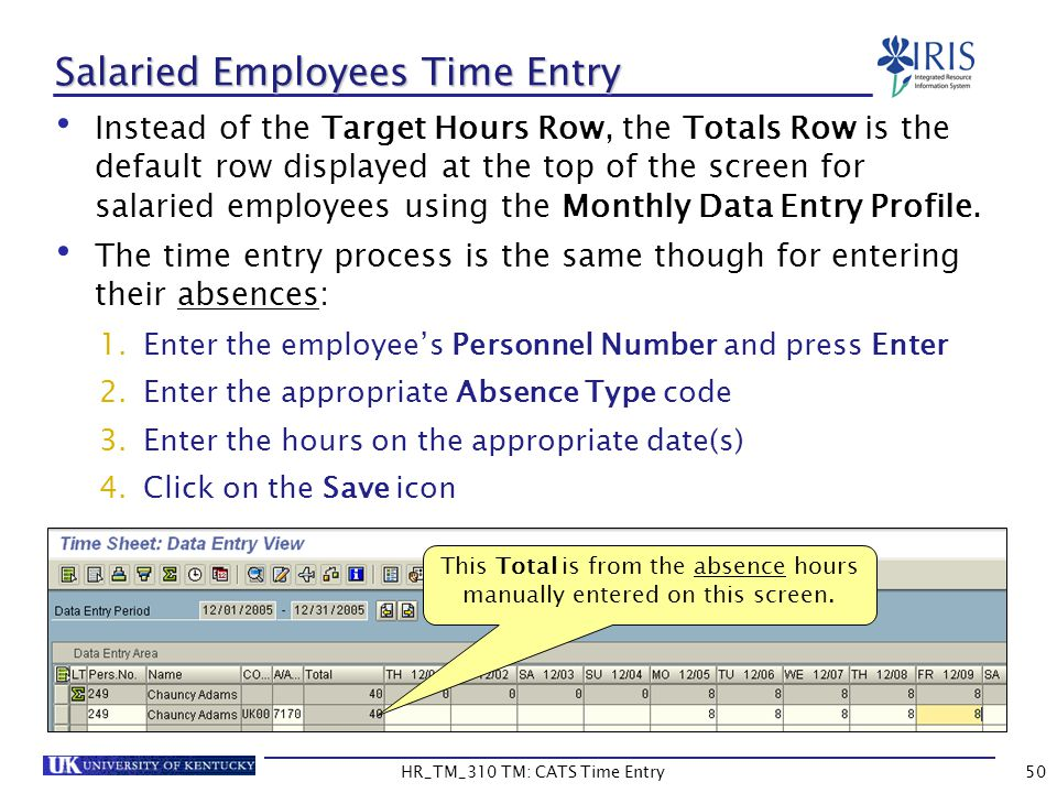 Salaried Employees Time Entry