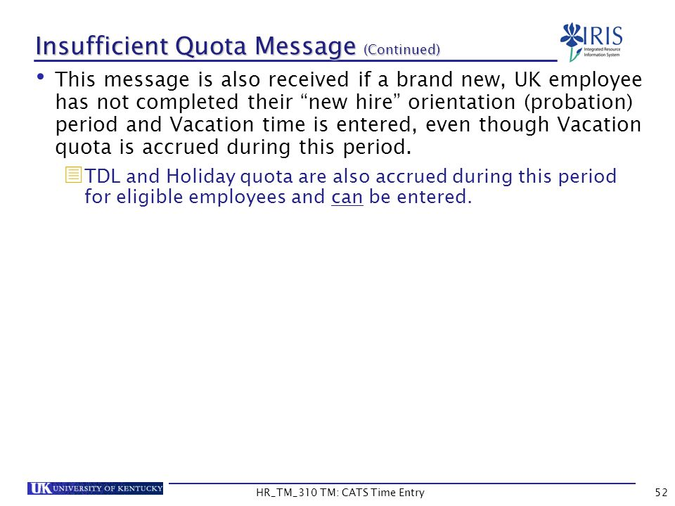 Insufficient Quota Message (Continued)