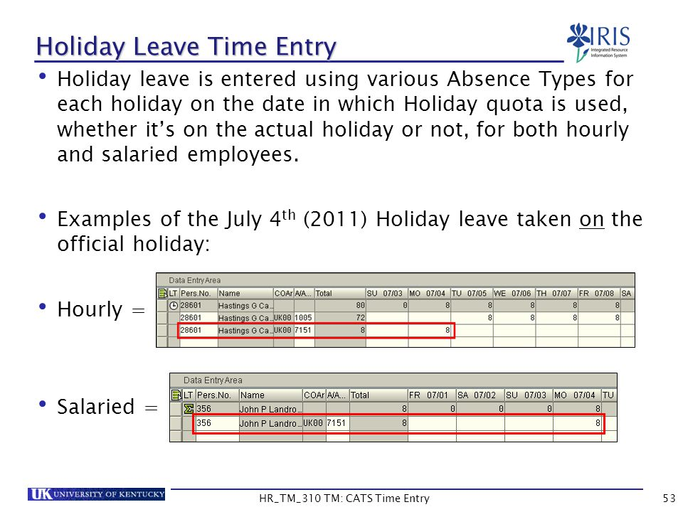 Holiday Leave Time Entry