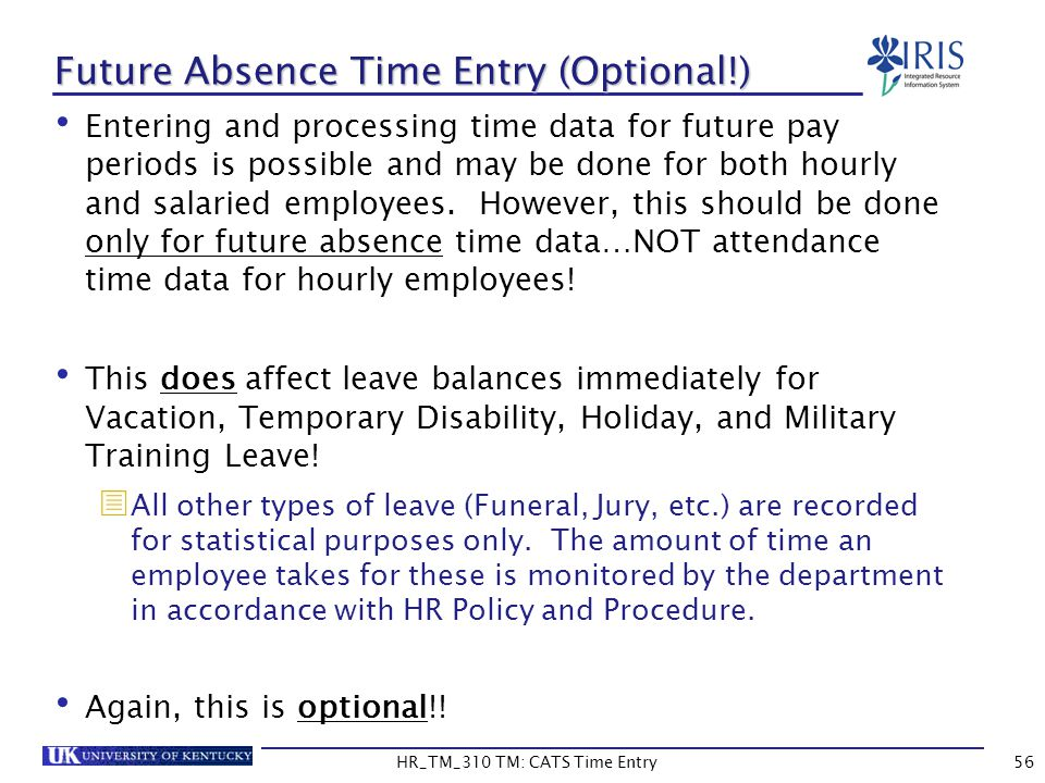 Future Absence Time Entry (Optional!)