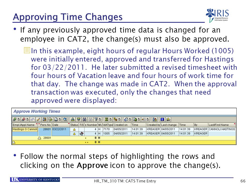 Approving Time Changes