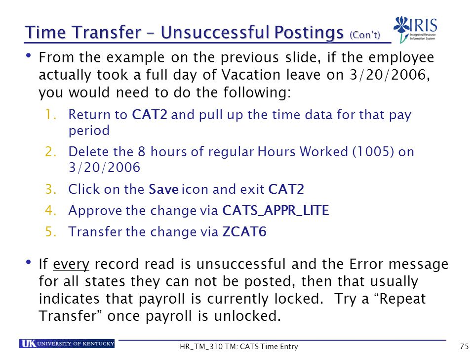 Time Transfer – Unsuccessful Postings (Con't)