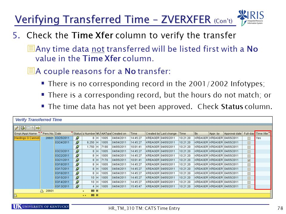Verifying Transferred Time – ZVERXFER (Con't)