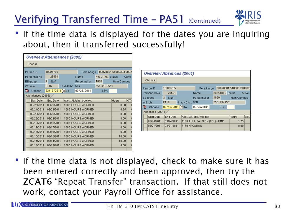 Verifying Transferred Time – PA51 (Continued)