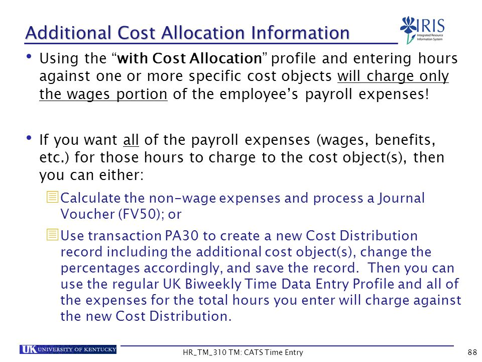 Additional Cost Allocation Information