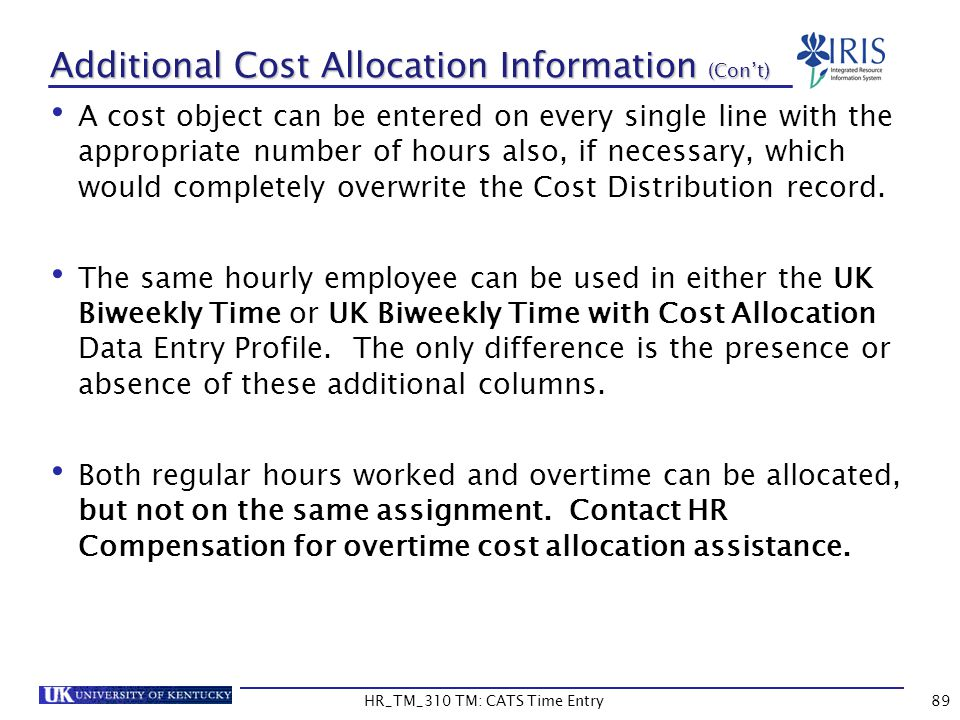 Additional Cost Allocation Information (Con't)