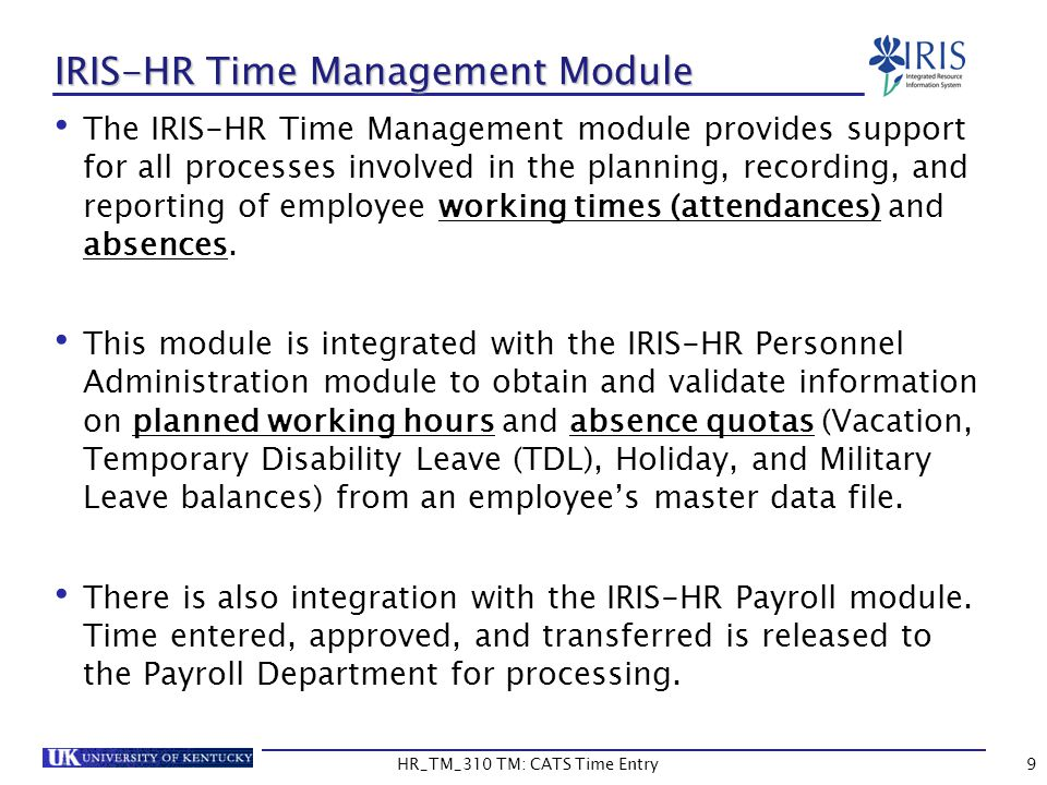 IRIS-HR Time Management Module