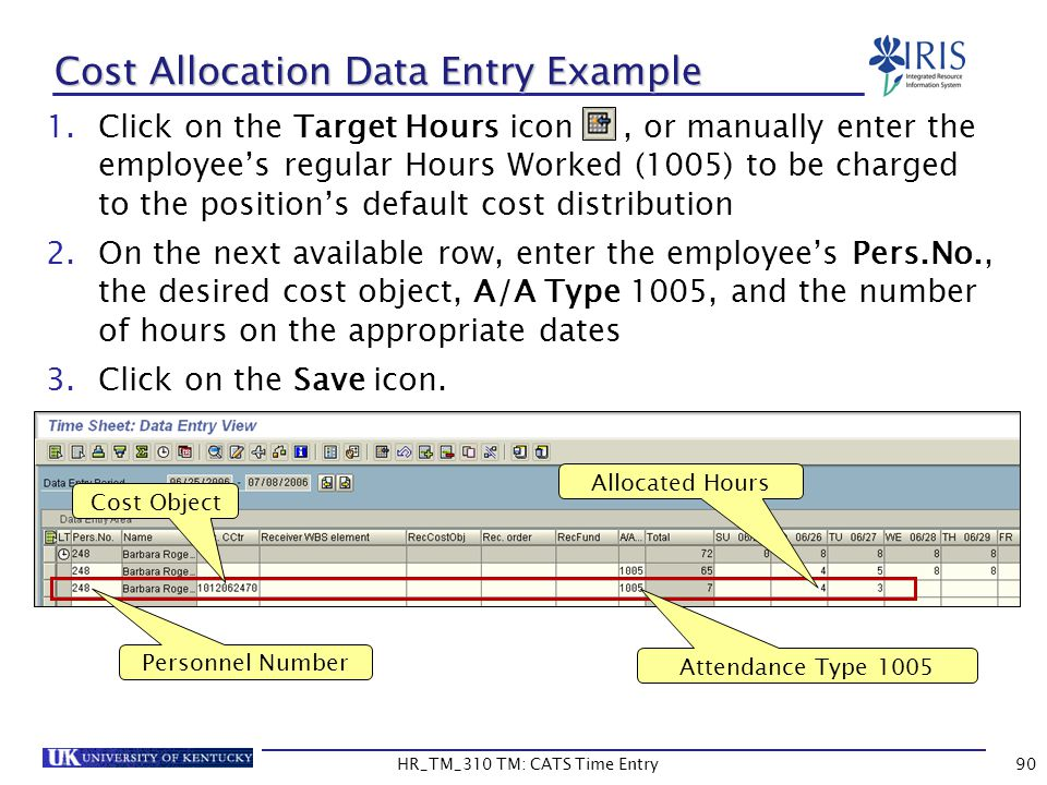 Cost Allocation Data Entry Example
