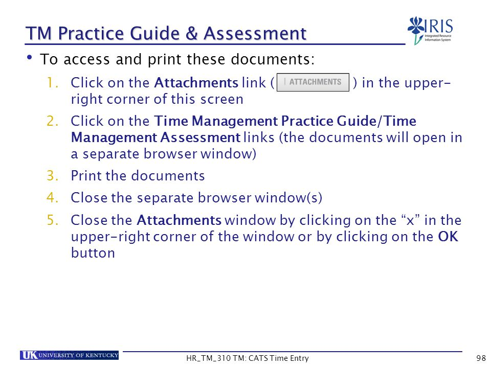 TM Practice Guide & Assessment