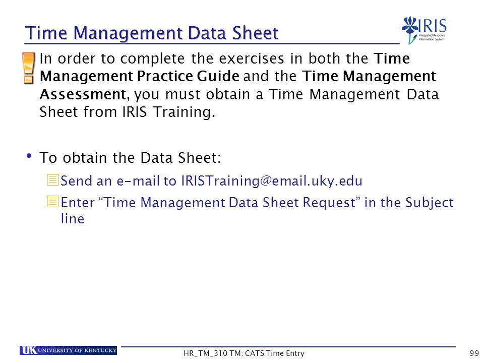 Time Management Data Sheet