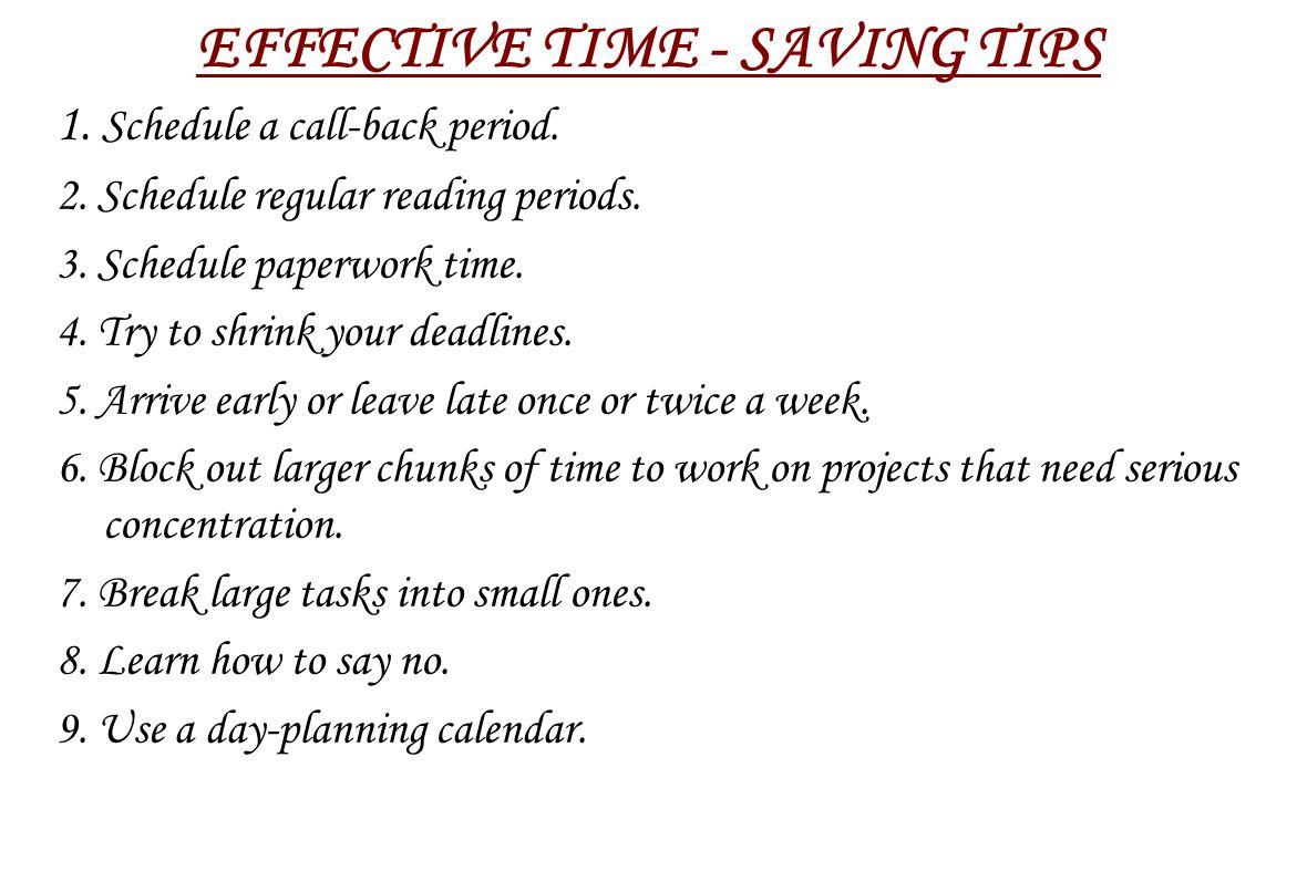 EFFECTIVE TIME - SAVING TIPS
