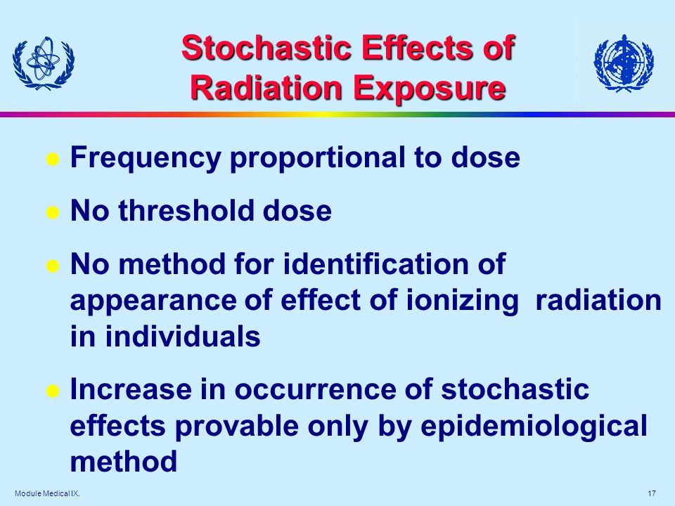 Module Medical IX - Types of radiation effects
