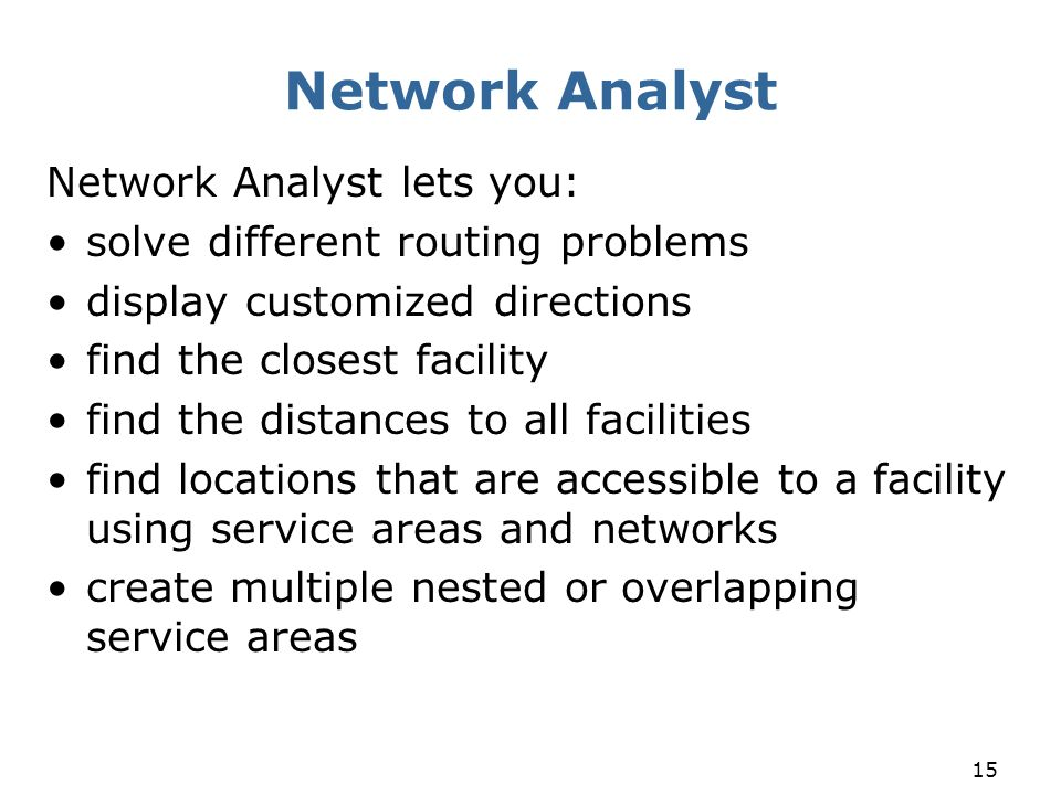 Network Analyst Network Analyst lets you: