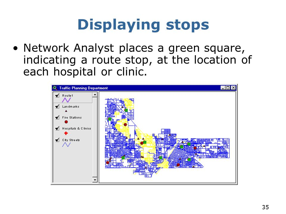 Displaying stops Network Analyst places a green square, indicating a route stop, at the location of each hospital or clinic.