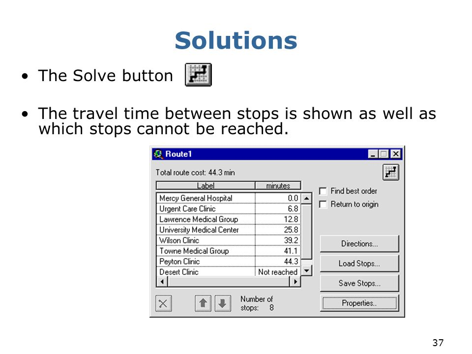 Solutions The Solve button