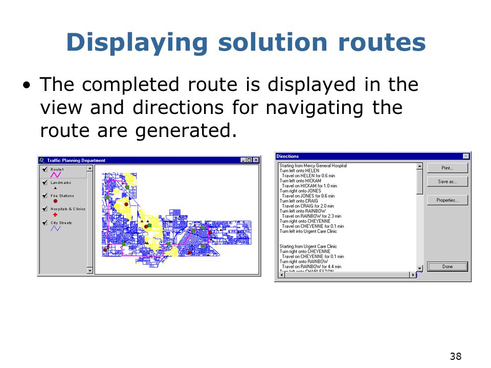 Displaying solution routes