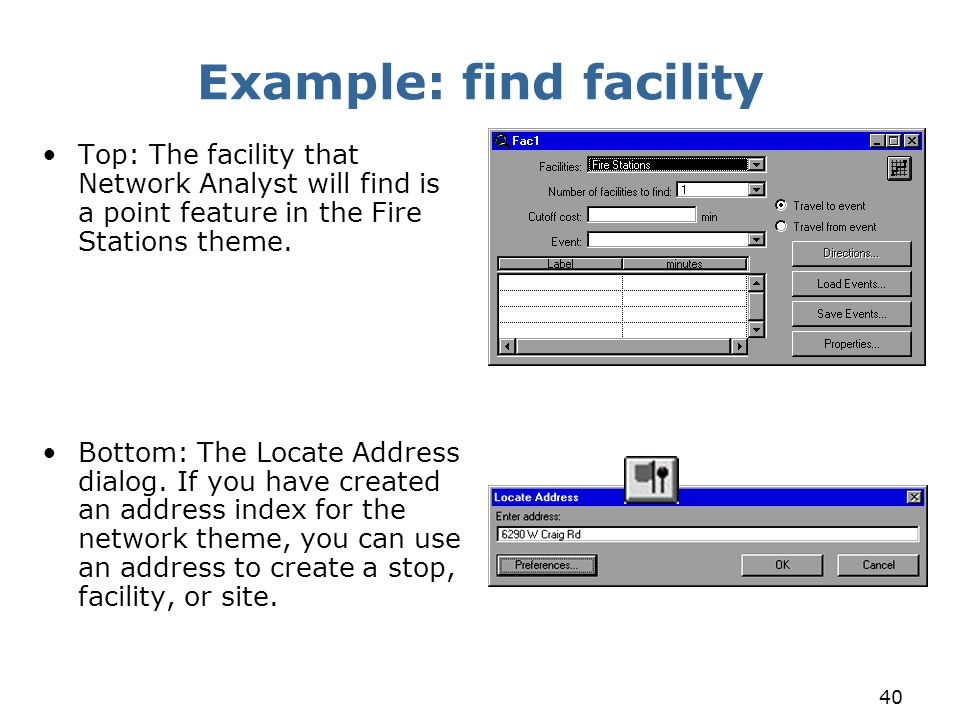 Example: find facility